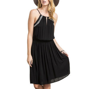 Mystree Black Embroidered Cinch Waist Halter Dress
